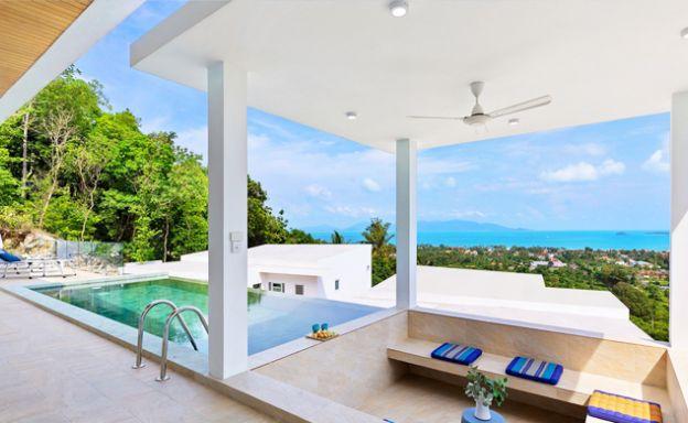 New Sleek Modern 3 Bed Sea view Pool Villa in Bophut