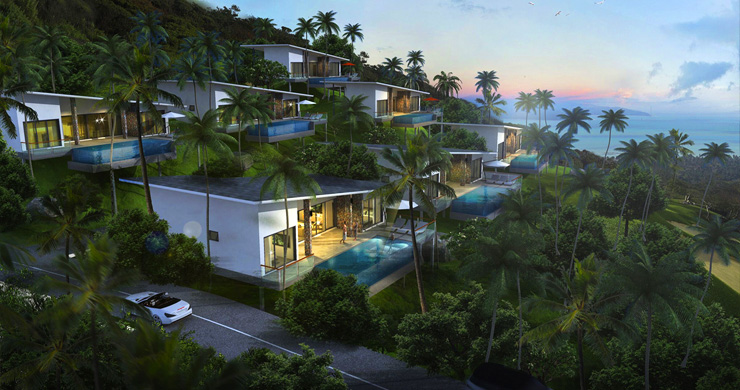 New Modern 2-3 Bedroom Sea view Pool Villas in Lamai-8