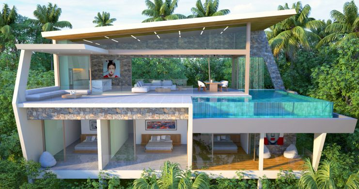 Contemporary 3-Bed Sea view Villas by Chaweng Noi-7