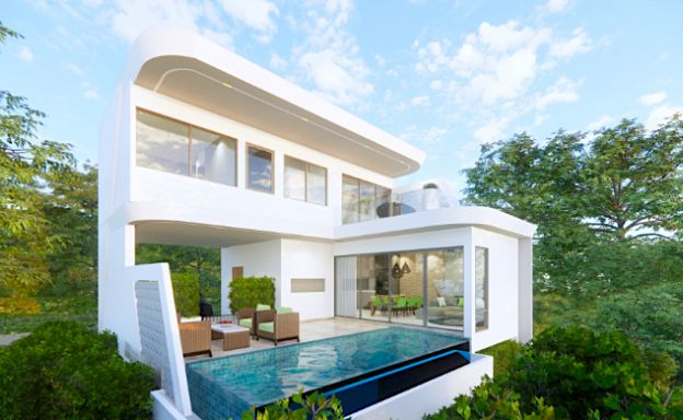 New Modern 3 Bed Sea View Pool Villas in Chaweng Noi
