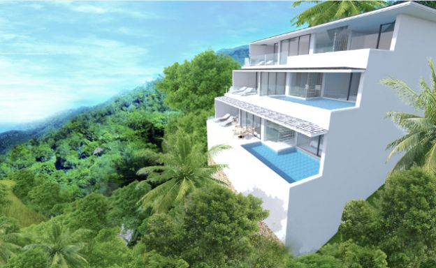 New Modern 2 Bed Sea View Pool Apartments in Lamai