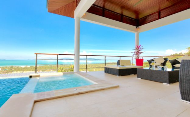 Modern 4 Bedroom Sea View Pool Villa in Maenam